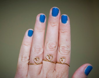 Trio of Heart Rings, wire heart handmade ring, 3 adjustable rings