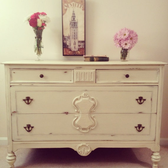 Custom designed 4 drawer distressed cream dresser painted Cream wooden furniture