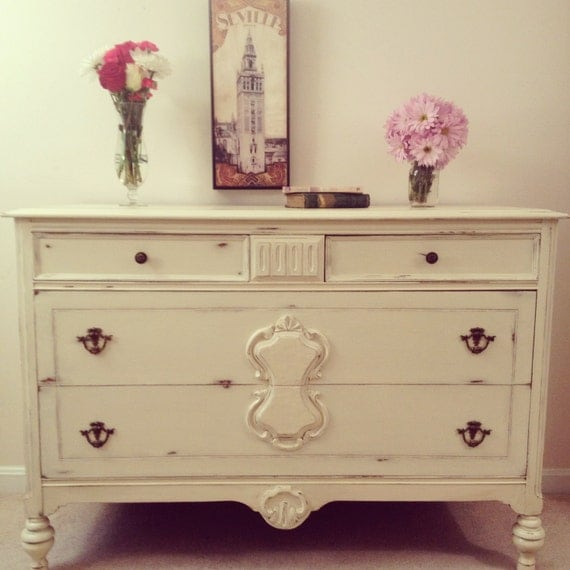 Distressed Cream Dresser Painted Furniture Shabby Chic Furniture