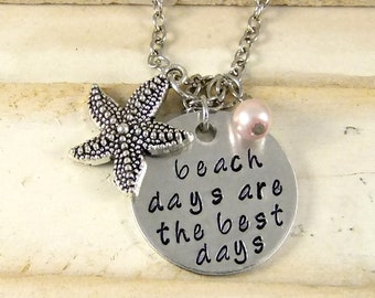 Beach Necklace, Hand Stamped Necklace, Starfish