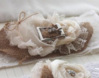 CAROLINE Garter - Burlap and Lace Garter - Burlap Garter Set - Rustic Wedding IVORY Vintage Western Wedding Garter Plus Size Wedding Garters