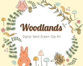 Hand Drawn Animal and Forest Clip Art -  Woodland