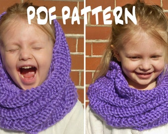 Knitting Pattern Child Infinity Scarf : INSTANT DOWNLOAD Knitting PATTERN Toddler/Kids Spiral Cowl ...