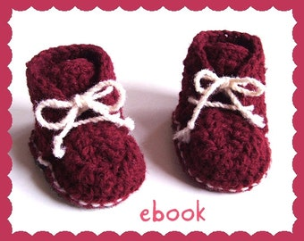 Instant Download - Crochet Pattern - Red Baby Booties - PDF ebook No. 22