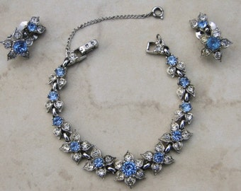 Vintage Bogoff  Bracelet and  Earrings Blue Rhinestone Wedding Jewelry