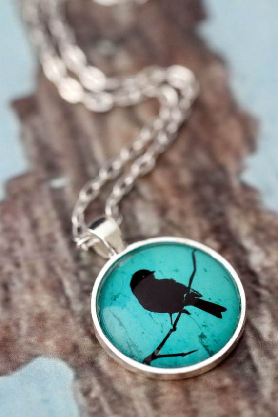 FREE SHIPPING Turquoise Bird Silhouette - silver or bronze pendant necklace. Teal green jewellery.