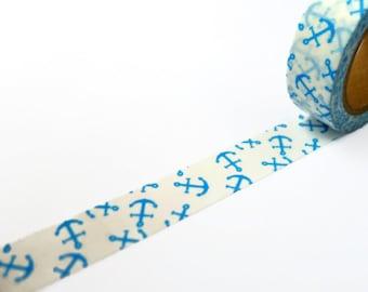 Blue Anchor Washi Tape / Nautical Deco Masking Tape