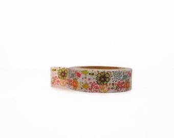 Floral Washi Tape - Retro Style - Vintage Style Flowers Masking Tape