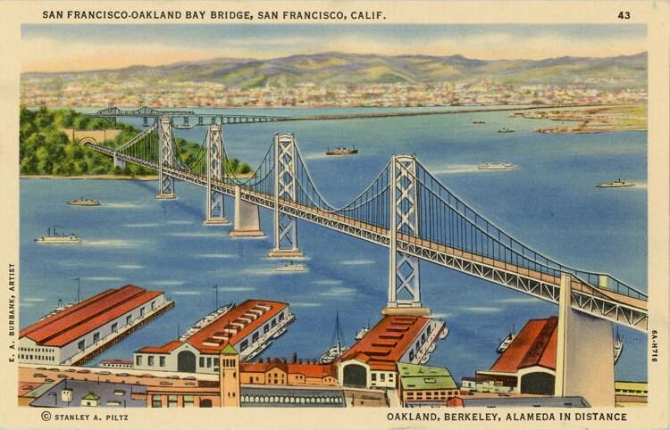 san francisco oakland bay bridge california vintage postcard. Black Bedroom Furniture Sets. Home Design Ideas