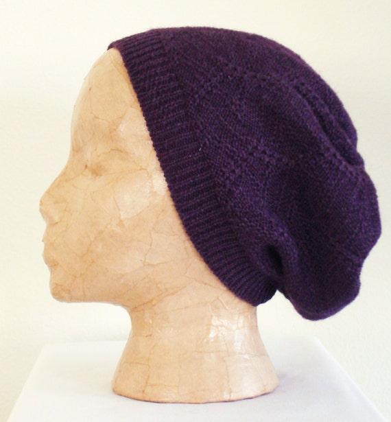Knit Zig Zag Hat Pattern : Knit hat plum zig zag tuck stitch pattern slouchy by
