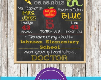 Back to school photo prop sign digital printable - YOU CHOOSE SIZE