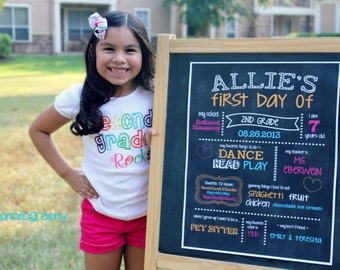 First Day Of School Chalkboard Sign Printable - Photo Prop - YOU CHOOSE SIZE