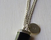 Necklace hand stamped - Black Shark Tooth + Initial