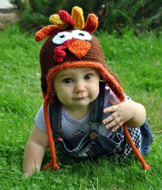 Crochet Turkey Hat, Thanksgiving Hat, Fall Knit Hat, Toddler Turkey Hat, Girls, Boys, Newborn Turkey Hat, Crochet Animal Hat, Toddler Hat