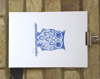 owl print, limited edition owl screen print 25 x 35 cm