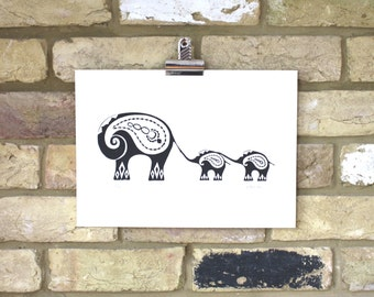 Elephant print, Indian elephant screen print art, mother and baby art, hand printed elephants, elephant decor
