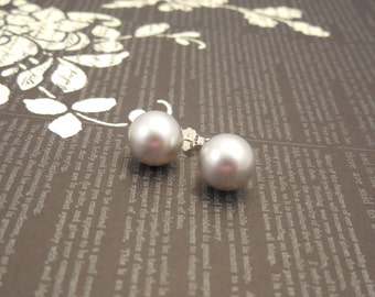 Very Classic and Simple, Sterling Silver Earrings with 10mm Light Gray Swarovski Glass Pearl