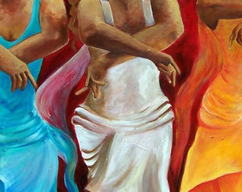 Flamenco dancers painting,  Abstract  flamenco dancers print on paper, Size 12x18, Dance painting