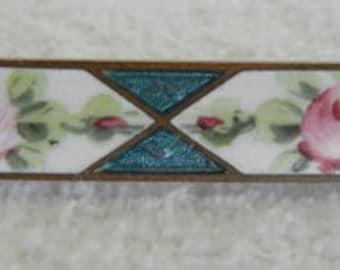 Vintage enamel guilloche rose pin brooch