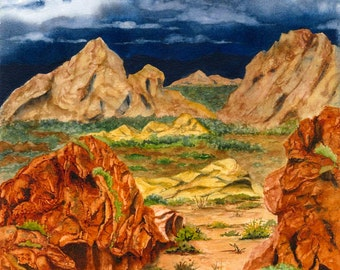 Desert Southwest Landscape Painting, Gold Butte, NV, Print from Original Watercolor Painting 10.25x14.25 Nevada Desert