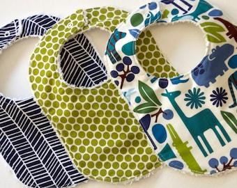 Baby Bibs - Set of Three - Modern Safari Collection