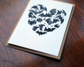 Greeting Card with Bats and Heart Halloween goth gothic emo alternative