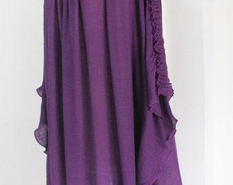 Plus Size 2X 3X 4X 5X Purple Lightweight Cotton Top Poncho Tunic Blouse Scoop Neckline Batwing Asym Hem