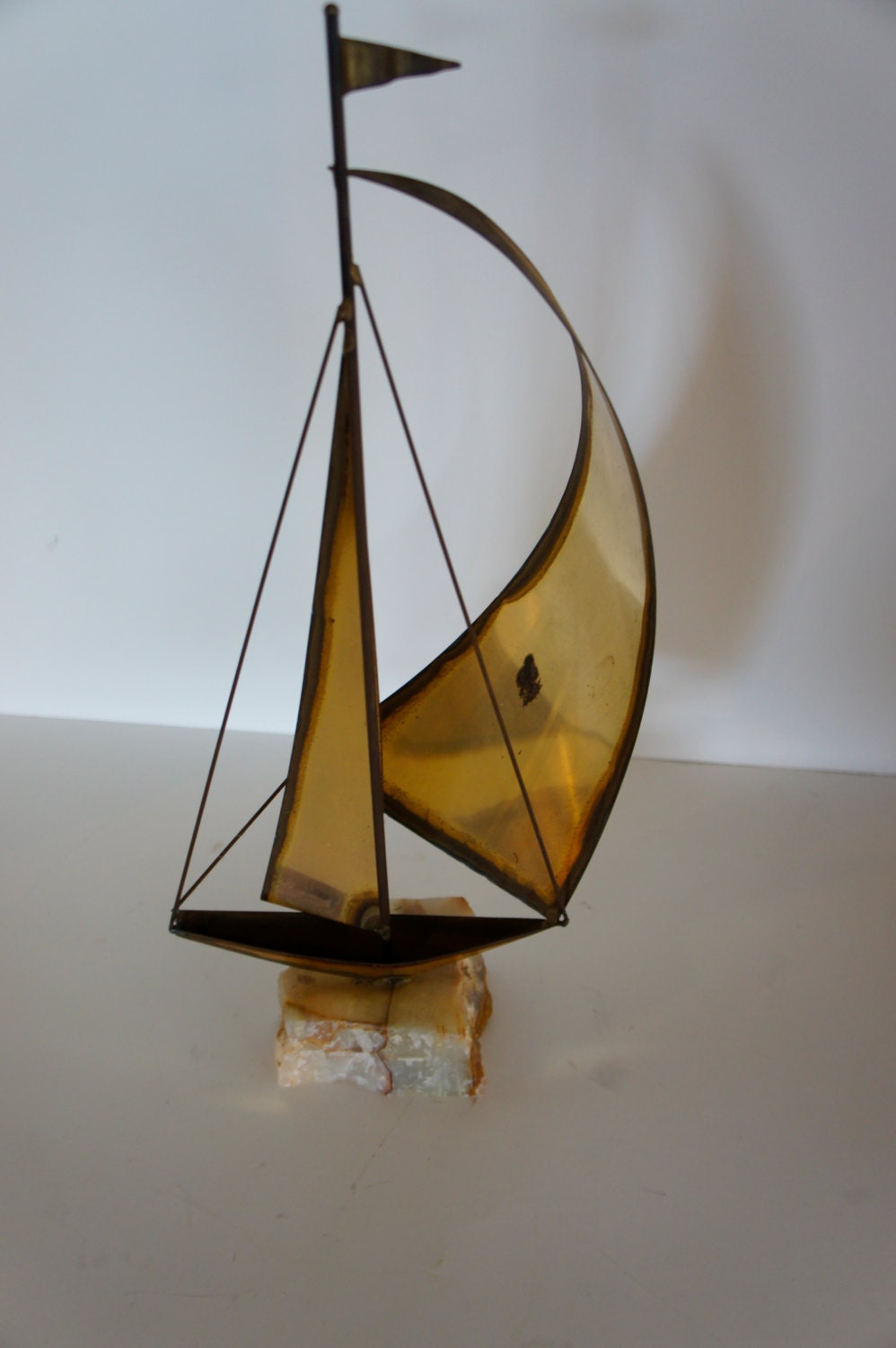 Vintage Home Decor Brass Sailboat On Marble Slab By Gleaned