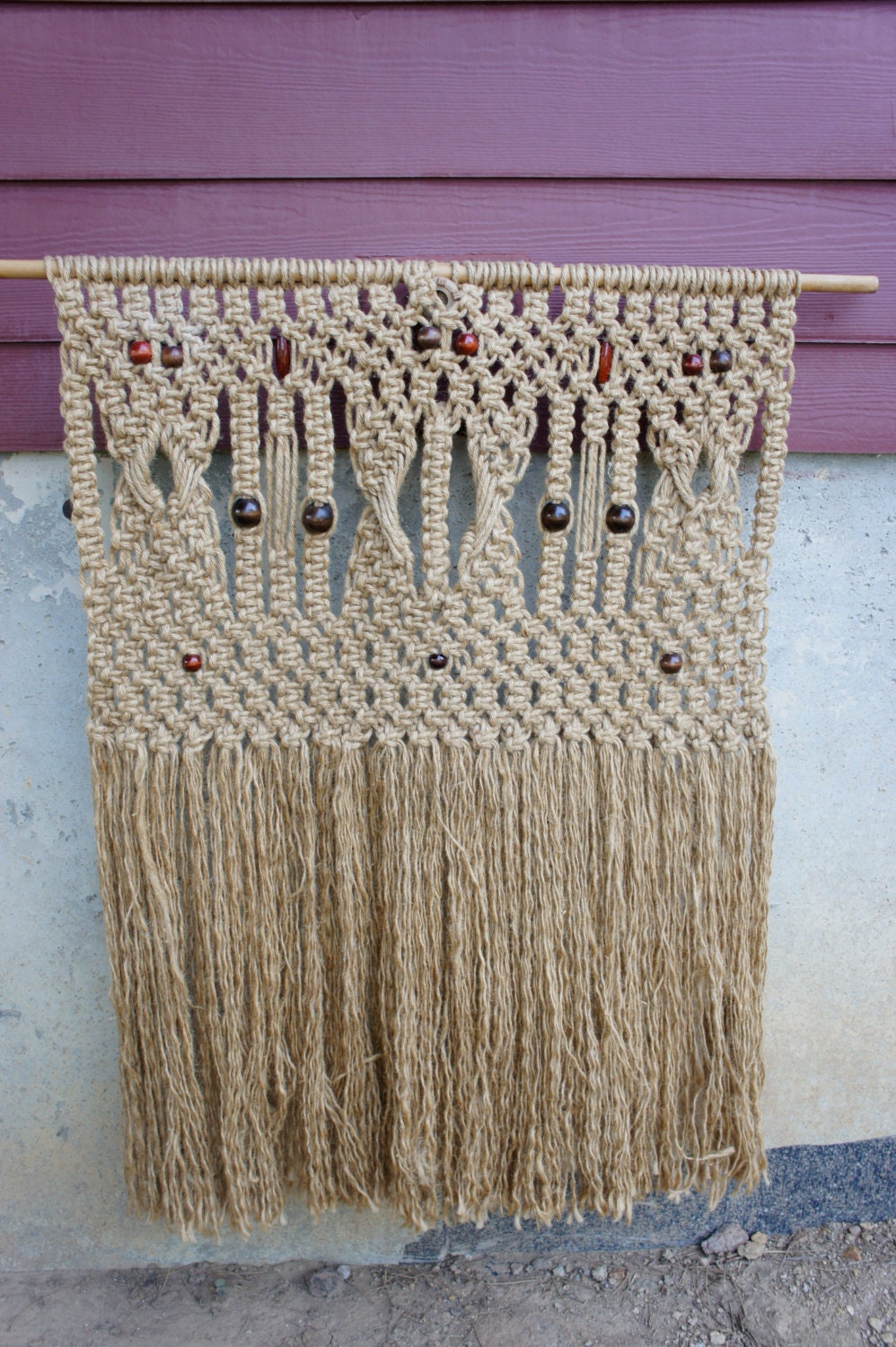 Large Macrame Wall Hanging Curtain Wooden Beads Hippie Organic