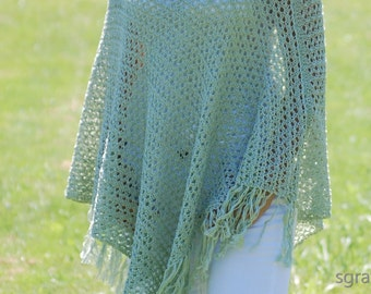 Light JADE GREEN Poncho. Summer Fall Jacket, Sweater, Cardigan Alternative. OOAK. Hand Knitted Fashion Garment.