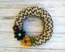 Burlap Wreath, Everyday Wreath, Summer Wreath, Spring Wreath, Chevron Wreath with Burlap Flowers