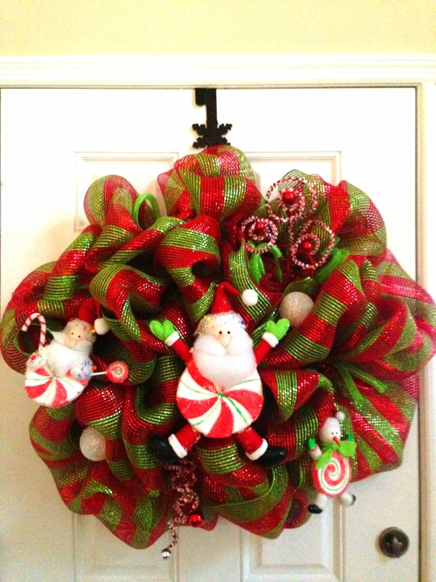 XL Christmas Holiday Red & Green Deco Mesh Wreath Santa Snowman Candy Cane