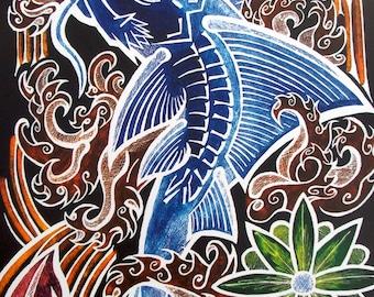 Pleco Art Print, Fish Painting, Catfish Art Print, Poster, Tropical Fish