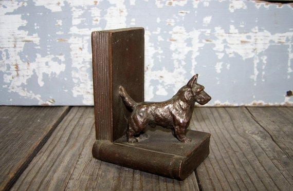 RARE Dog Bookend: Antique Art Deco Terrier Scottie Dog Bronze Clad Boodkend Standing Dog on Faux Books at Sexy Trash & Vintage on Etsy