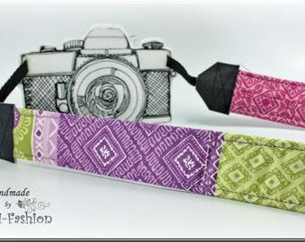 Camera strap, camerastrap, DSLR, green, pink, violet