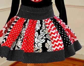 girls chevron skirt red black damask skirt  Valentine's Day damask chevron polka dot skirt chevron and polkadot skirt  birthday
