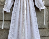 Christening Gown, Baptism Gown, Special Occasion, Hand Knitted Christening Robe, Vintage Style, Size 0 - 3 Months