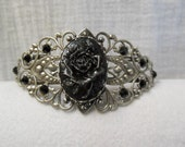 Rose Cameo Bracelet. Hand Painted Black & Silver. Jet Black Swarovski Crystal accents
