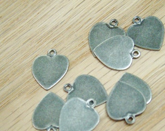 Five Antique Silver Heart Charms - Metal Blanks for Stamping