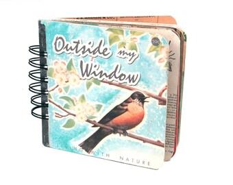 Boho mini album / vintage scrapbook kit / art journal with ephemera / mini album kit / nature / birds / Instagram / Fujifilm Instax mini