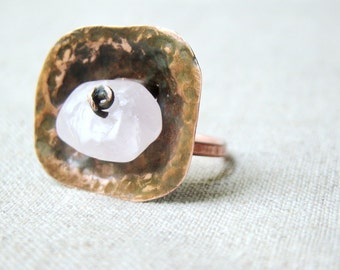 Cocktail RING, Rose Quartz RING copper jewelry , gift for her, hammered ring