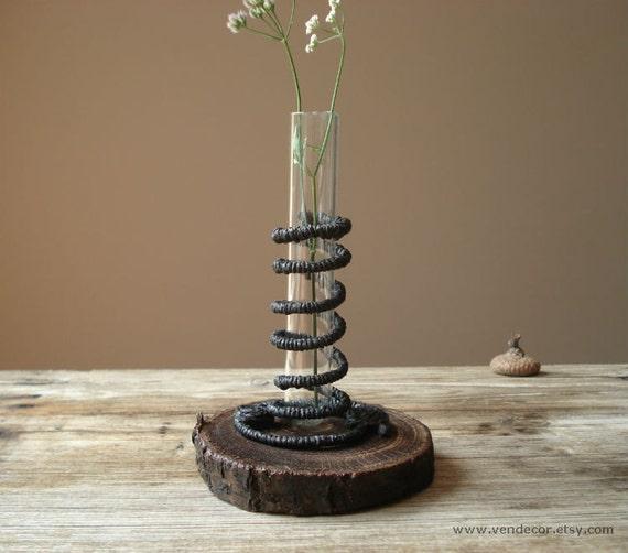 Black spiral test tube vase unique wood bud vase one by for Test tube vase