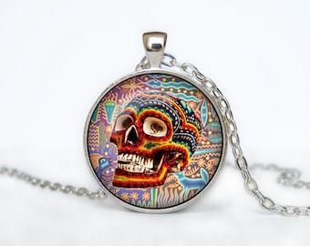 Mexican Halloween Skull necklace Skull pendant  Halloween jewelry Trick or Treat Halloween Pendant Halloween  jewelry black yellow beige