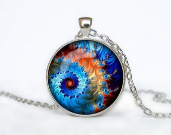 Fractal necklace Fractal Jewelry Necklace for him  Art Gifts for Her Men pendant