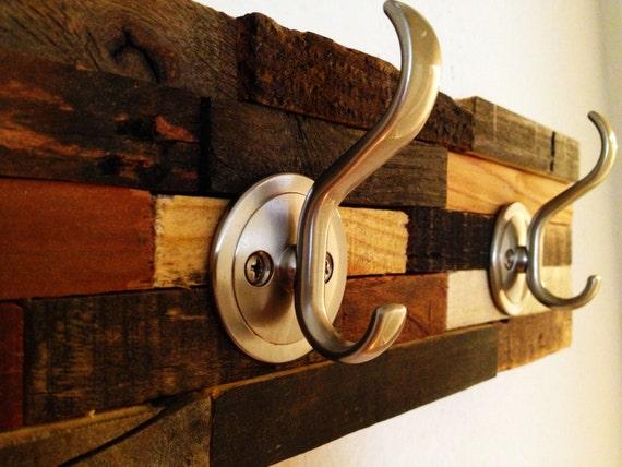 Rustic coat rack 2 hook sweet artistic hanger created from for Artistic coat hooks