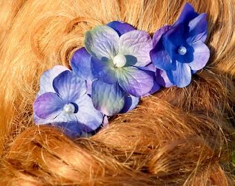 A set of 3 Purple Flower Bobby Pin