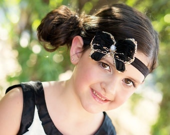 Black Gold Headband, Black Butterfly Headband, Flapper Headband, Newborn Photo Prop, Baby Shower Gift, Black Bow Headband, Baby Bow, Adult