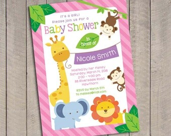 Girl Safari Baby Shower Invitation / Girl Jungle Safari Baby Shower Invitation / Sweet Safari Baby Shower invitation / Sweet Safari