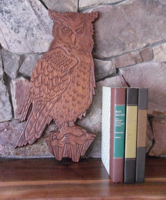 Wooden Owl Wall Decor : Vintage wooden owl figurine wall art plaque hanging