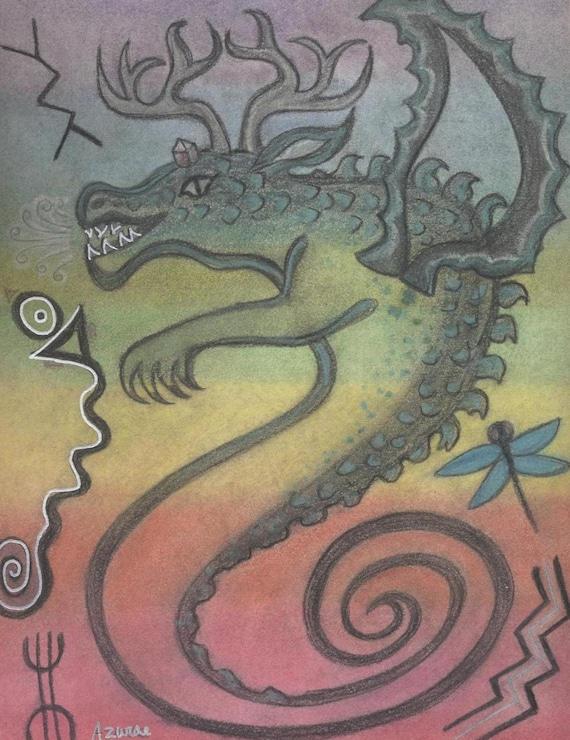 Uktena Cherokee Dragon Spirit Symbol Petroglyph Portrait by shamanic artist healer Azurae Windwalker